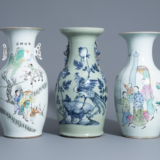 Three various Chinese famille rose and blue and white on celadon ground vases, 19th/20th C.