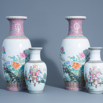 Two pairs of Chinese famille rose vases with warrior scenes and blossoming branches, 20th C.