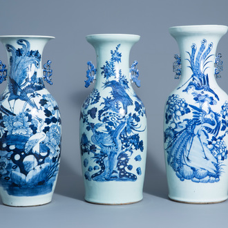 Three Chinese blue and white and celadon ground vases with birds among blossoming branches, 19th C.