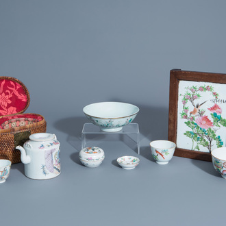 A varied collection of Chinese famille rose and qianjiang cai porcelain, 19th/20th C.