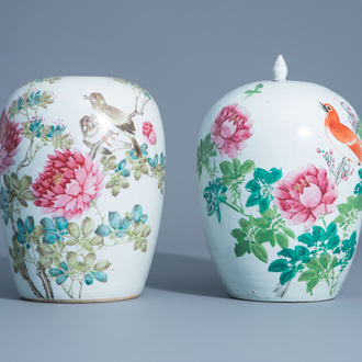 Two Chinese qianjiang cai jars with birds among flower branches, 19th/20th C.