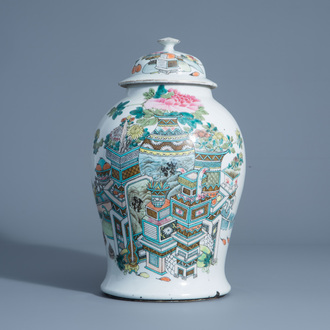 A Chinese qianjiang cai vase and cover with antiquities, 19th C.