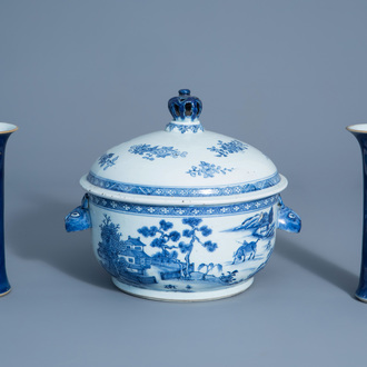 A pair of Chinese powder blue vases and a blue and white tureen and cover, Kangxi/Qianlong