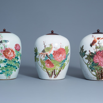 Three Chinese qianjiang cai jars with birds among flowering branches, 19th/20th C.