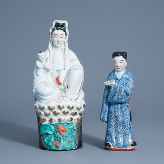 A Chinese porcelain figure of Guanyin and one of a scholar, Republic, 20th C.