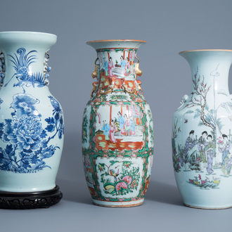 Three various Chinese famille rose and blue and white vases, 19th/20th C.