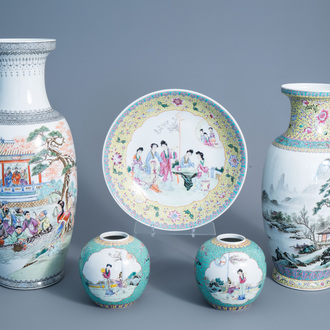 Two various Chinese famille rose vases, a charger and two jars, 20th C.