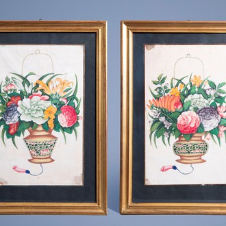 Chinese school, Canton, colours on pith paper, 19th C.: Two fine flower vases
