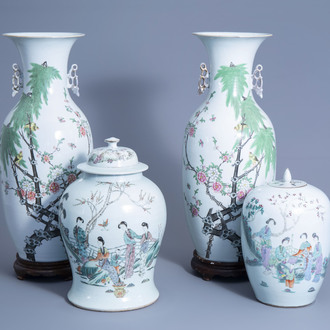 A pair of Chinese qianjiang cai vases with birds on blossoming branches and a vase and cover and ginger jar with ladies in a garden, 19th/20th C.