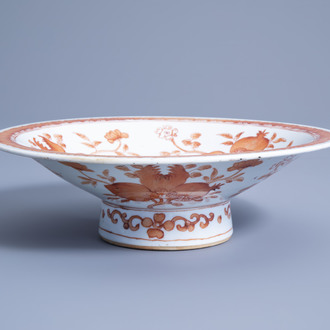 A Chinese bowl with iron red and gilt 'nine peaches' design, 19th C.