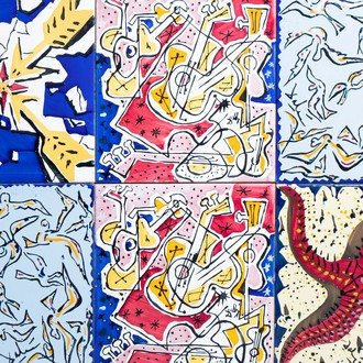 Salvador Dali (1904-1989): A collection of ten polychrome decorated and framed tiles depicting scenes from 'The Spanish Impression'