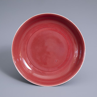 A Chinese monochrome copper red plate, 19th/20th C.
