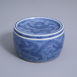 A Chinese light blue ground box and cover with dragons, 19th/20th C.