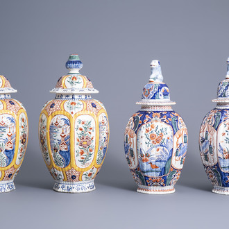 Two pairs of polychrome Dutch Delft vases and covers, 19th C.