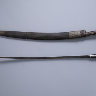 Two Islamic 'Shamshir' swords with inlay, Middle East, 19th/20th C.