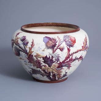 A French polychrome and gilt decorated slip jardinière with floral design, mark E.G. (Edouard Gilles, 1868-1895), 19th C.