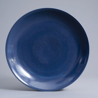 A large Chinese monochrome blue charger, Republic, 20th C.