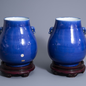 A pair of Chinese monochrome blue 'hu' vases, 19th C.