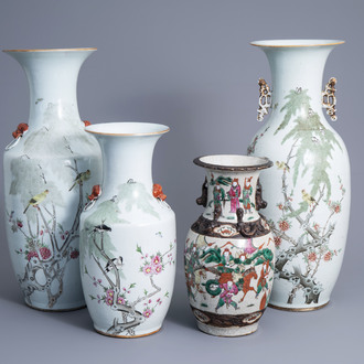 Three Chinese qianjiang cai vases with birds among blossoming branches and a Nanking crackle glazed famille rose vase, 19th/20th C.