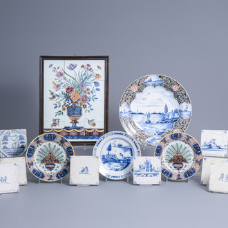 A tile mural, four dishes and twelve tiles in polychrome and blue and white Dutch Delftware, 17th/19th C.