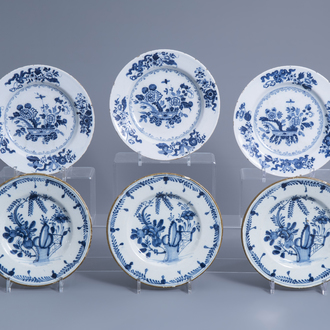 Six English and Dutch Delft blue and white plates with floral design, 18th C.