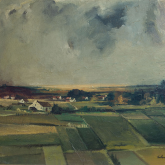 Maurice Schelck (1906-1978): Landscape with threatening storm, oil on canvas, dated (19)40