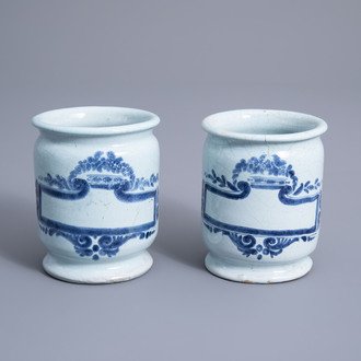 A pair of blue and white albarello style pharmacy jars, Lille, 18th C.