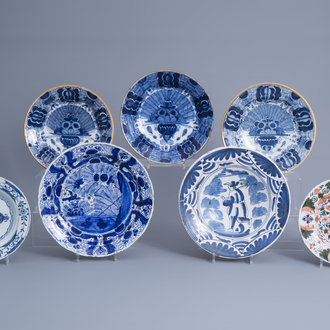 Seven various Dutch Delft blue, white and polychrome dishes, 18th C.