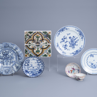 Four blue and white Dutch Delft and Chinese plates, a pair of Spanish tiles and a famille rose cup and saucer, 17th/18th C.