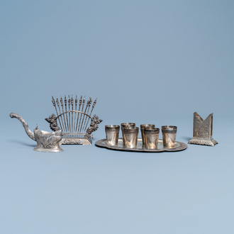 A varied collection of Vietnamese silver wares, early 20th C.