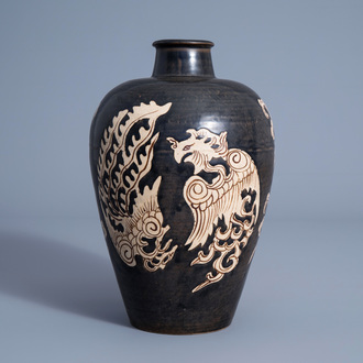 A Chinese Jizhou 'double phoenix' meiping vase, Song or later