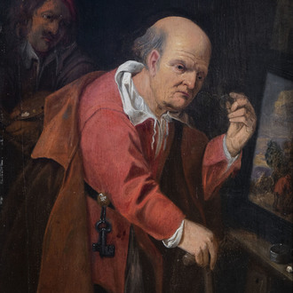 Flemish school: The critical view, oil on panel, 17th C.