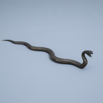 A Japanese bronze sculpture of a snake in an attack position, Meiji, 19th/20th C.