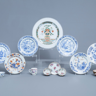 A varied collection of Chinese blue, white, famille rose, famille verte and Imari style porcelain, Kangxi/Qianlong