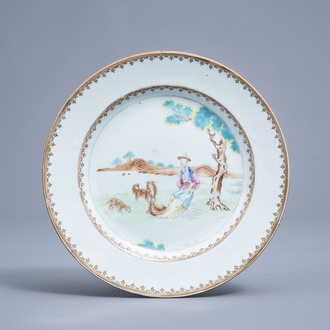 A Chinese famille rose plate with a  shepherdess and her flock in a landscape, Qianlong
