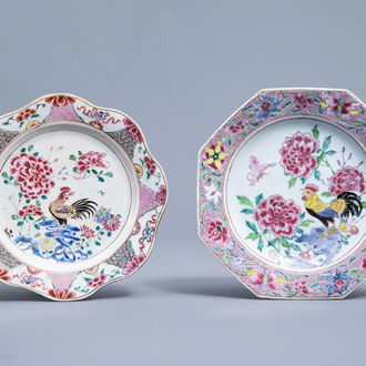 Two Chinese famille rose plates with a rooster and floral design, Qianlong