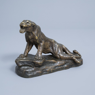 Louis-Albert Carvin (1875-1951): A wounded panther, patinated bronze