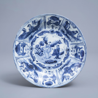 A Chinese blue and white kraak porcelain dish with figures in a landscape, Wanli
