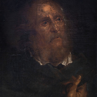 Flemish or French school: Saint Peter, oil on canvas, 17th C.