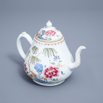 A large Chinese famille rose teapot and cover with floral design, Qianlong
