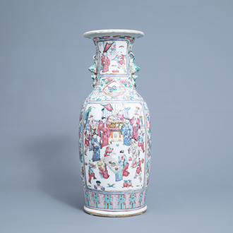 A Chinese famille rose vase with figurative and floral design, 19th C.