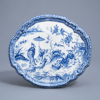 A Dutch Delft blue and white 'chinoiserie' plaque, 18th C.