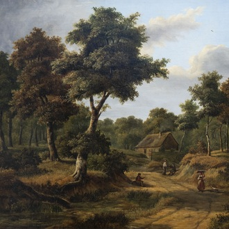 Attributed to Gilles François Closson (1796-1842): An animated forest landscape, oil on canvas, dated 1835