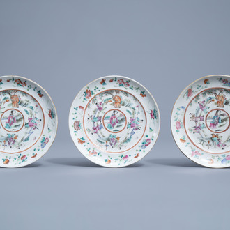 Three Chinese famille rose plates with figures in a landscape, 19th C.
