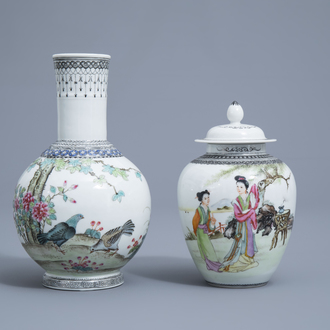 A Chinese famille rose vase with pigeons among blossoming branches and a vase and cover with ladies in a landscape, Republic, 20th C.