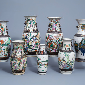 Seven various Chinese Nanking crackle glazed famille rose and verte vases, 19th/20th C.