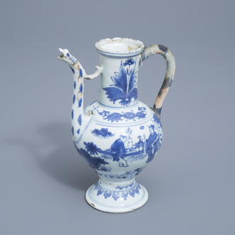 A Chinese blue and white ewer with figures in a landscape, Transitional period, 17th C.