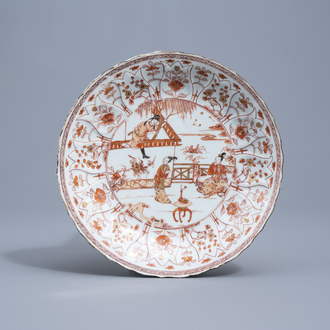 A Chinese lotus moulded 'Romance of the Western Chamber' milk and blood dish, Kangxi