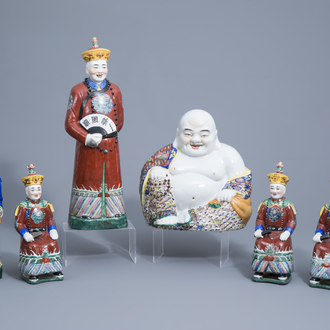 Five Chinese famille rose figures of dignitaries and a seated Buddha, seal marks, 20th C.