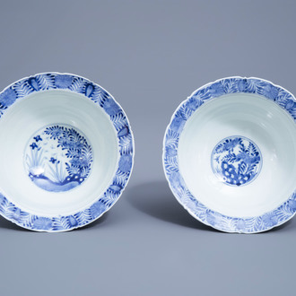 Two Japanese blue and white Arita bowls with floral design, Edo/Meiji, 19th C.